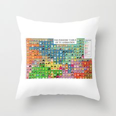 The Periodic Table of TV Animation Throw Pillow