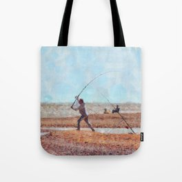 Beach Casting At Dungeness Tote Bag