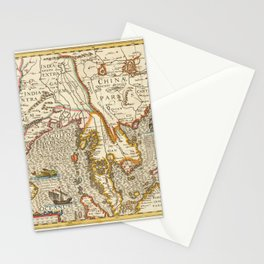 Vintage Map Print - Hondius - 1610 Map of Southeast Asia Stationery Cards