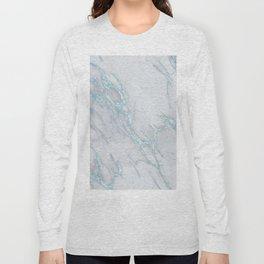 Marble Love Sea Blue Metallic Long Sleeve T-shirt