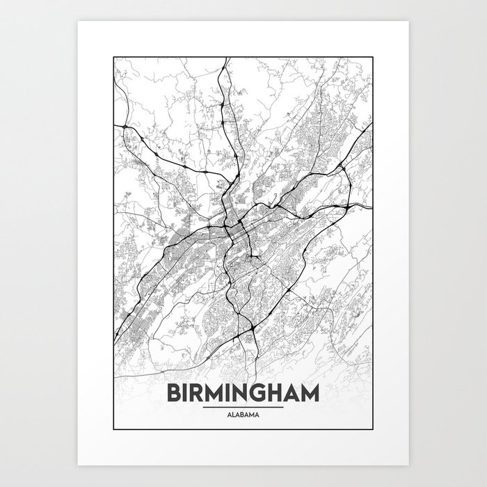Alabama United States Map.Minimal City Maps Map Of Birmingham Alabama United States Art