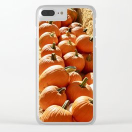 Pumpkins in hay Clear iPhone Case