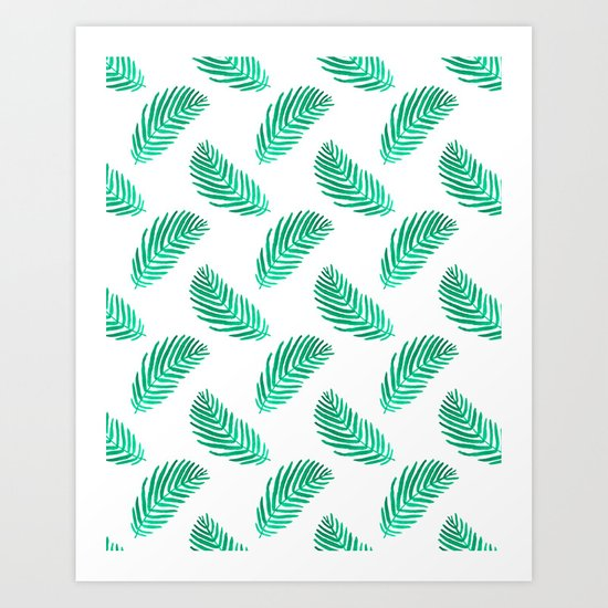 Palm frond tropical vacation green white house plant gender neutral natural organic garden island Art Print