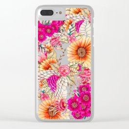 Pink orange spring vintage floral watercolor illustration pattern Clear iPhone Case