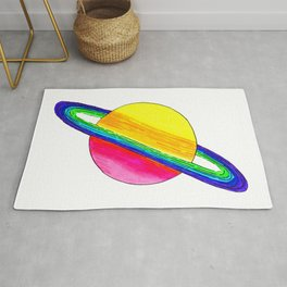 Neon Saturn Planet Rug