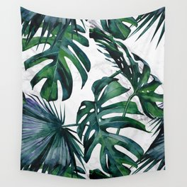 Tropical Palm Leaves Classic on Marble Wall Tapestry