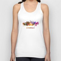 cleveland Tank Tops featuring Cleveland skyline in watercolor by Paulrommer