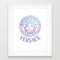holographic Framed Art Prints featuring Holographic Medusa by Goldflakes