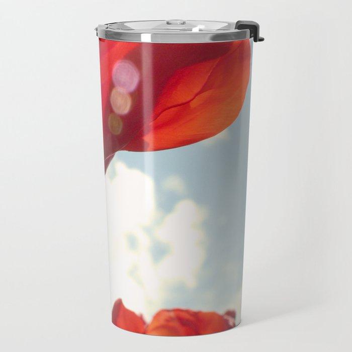 Flower Photography, Deep Ruby Red Art Print, Autumn, Home Decor Nursery Decor  Nature 8x10 Travel Mug
