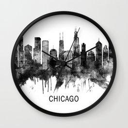 Chicago Illinois Skyline BW Wall Clock