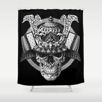 bioworkz Shower Curtains featuring Samurai Skull by BIOWORKZ