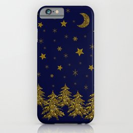 Sparkly Christmas tree, moon, stars iPhone Case