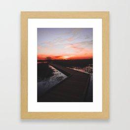 Sunset boardwalk Framed Art Print