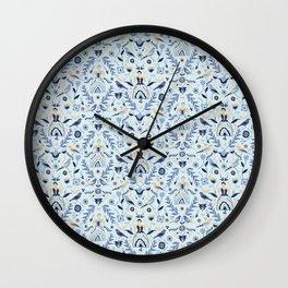 Blue Folk Milk Maids Pattern Wall Clock