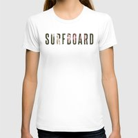 surfboard T-shirts featuring floral surfboard by fieldguided