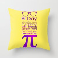 pi Throw Pillows featuring Pi Day by Square Lemon