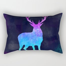 DEER IN SPACE // Animal Graphic Art // Watercolor Canvas Painting // Modern Minimal Cute Rectangular Pillow