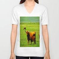 cows V-neck T-shirts featuring The Cows  by Rachel Ernst