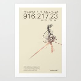 VOYAGER ONE - Space | Time | Science | Planets | Travel | Interstellar Mission | NASA Art Print