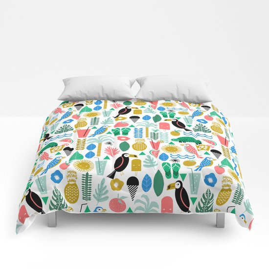 Tropical Vacation Island print pattern fun beach surf sand fun gift for trendy dorm room bright  Comforters