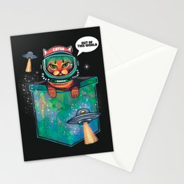 Grumpy bengal space cat in pocket out of this world Stationery Cards