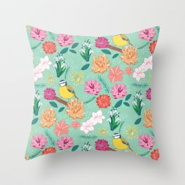 Joyful colourful floral pattern with bird Throw Pillow