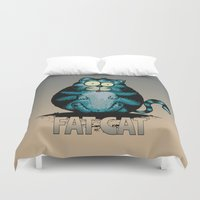 fat Duvet Covers featuring Fat Cat by mangulica