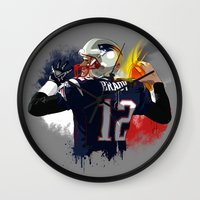 patriots Wall Clocks featuring Tom Brady by J Maldonado