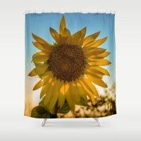 sunflower Shower Curtains featuring Sunflower by Svetlana Korneliuk