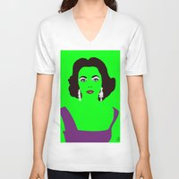 lime green V-neck T-shirts featuring Liz Taylor on Lime Green by Woofer