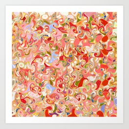 VENTRAL - bright red pink multi-color abstract patten Art Print