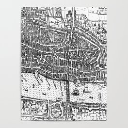 Vintage Map of London England (1593) Poster