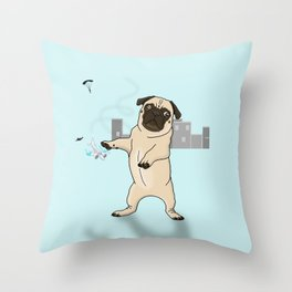 Attack of the Massive Pug!!! Throw Pillow