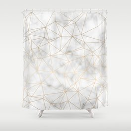 Marble Gold Geometric Texture Shower Curtain
