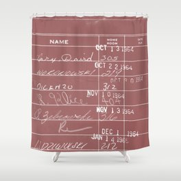 Library Card 23322 Negative Red Shower Curtain