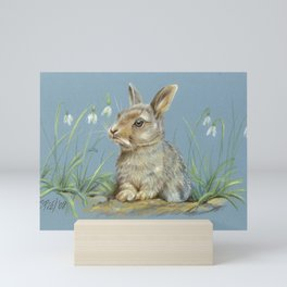 Baby bunny Spring scene Illustration Pastel drawing Mini Art Print