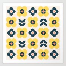 Vintage geometric flowers II Art Print