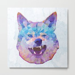 abstract rainbow wolf Metal Print