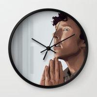 sherlock holmes Wall Clocks featuring sherlock holmes by elyinspira