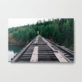 Train Tracks by the Lake & Forest Metal Print