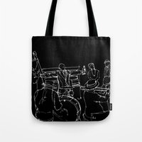 louis armstrong Tote Bags featuring Jazz Louis Armstrong and his band by Larsson Stevensem