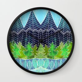 Magical Mountain Forest Wall Clock