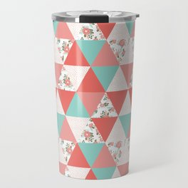 Triangle quilt pattern cute florals dots cheater quilt blanket quilter must have cute baby shower  Travel Mug