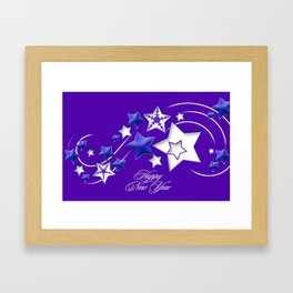 Blue and Purple Happy New Year Shooting Stars  Framed Art Print