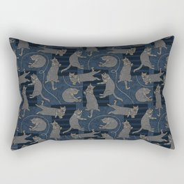Lounging Cats On Terrazzo - Blue Rectangular Pillow