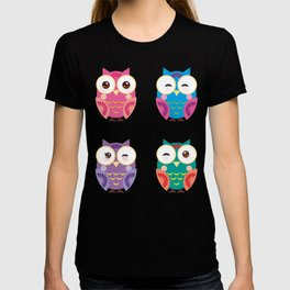 bright colorful owls on white background T-shirt