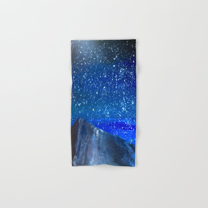 Moon Rising as an orange dot in the Great Sand Dunes National Park, USA travel Hand & Bath Towel