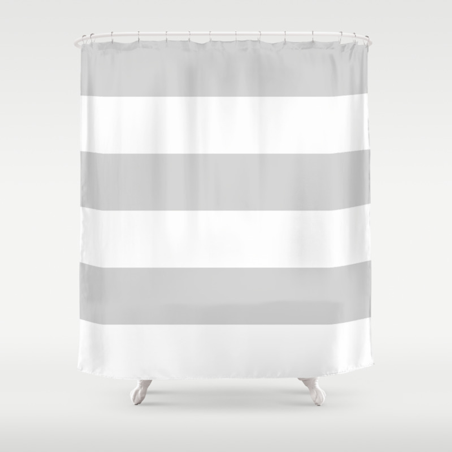 Wide Horizontal Stripes White And Light Gray Shower Curtain