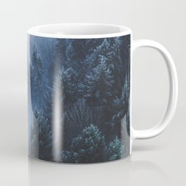 Foggy Blue Purple Mountain hill Pine Trees Landscape Nature Photography Minimalist Modern Art Coffee Mug