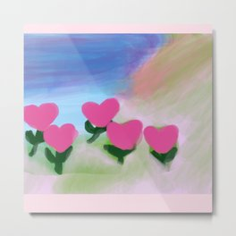 Hearts from a Rose Pink Metal Print